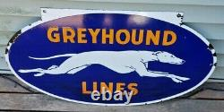 VINTAGE 1930s DOUBLE-SIDED PORCELAIN GREYHOUND LINES BUS DEPOT SIGN