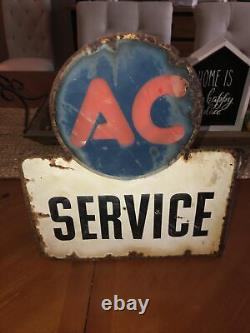VINTAGE 1940s-50s AC DELCO SERVICE STATION DOUBLE-SIDED PORCELAIN FLANGED SIGN