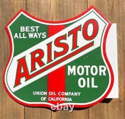 VINTAGE ARISTO MOTOR OIL DOUBLE-SIDED FLANGE 14 x 12 FLANGE PORCELAIN SIGN