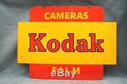 VINTAGE GENUINE DOUBLE-SIDED LARGE METAL KODAK DEALER SIGN 24 x 18 (PK)