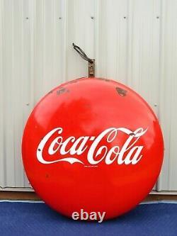 VTG Double Sided COCA COLA 36 BUTTON PORCELAIN SODA SIGN Lollipop Hanging Dot