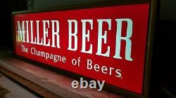 VTG MILLER HIGH LIFE beer sign THE CHAMPAGNE OF BEERS DOUBLE SIDED New Old Stock