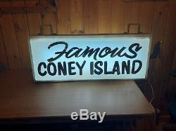 VTG OOAK 1940s FAMOUS CONEY ISLAND Lighted Sign Double Sided Steel Bracket WOW