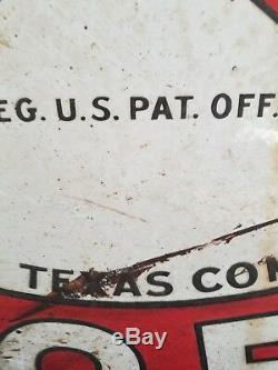 VTG Texaco Gasoline Motor Oil Porcelain original Double Sided station Sign 42