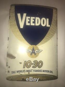 Veedol Oil Flange Sign Vintage Original Flying A Double Sided Gas station