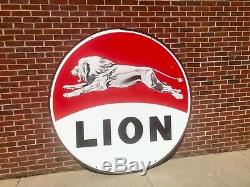 Very Nice Original Lion Gas Double Sided Porcelain sign Gas Oil