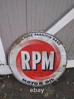 Very Rare! Original RPM Motor Oil Double Sided Porcelain Sign 28
