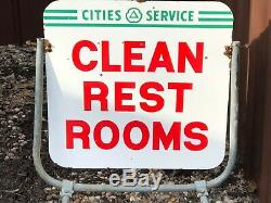 VinTagE Original CITIES SERVICE CLEAN REST ROOMS DSP Double Sided PORCELAIN SIGN