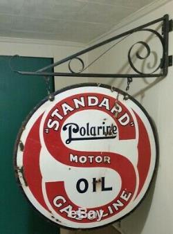 Vintage 1920's Standard Oil Polarine Porcelain Sign 30 Double Sided