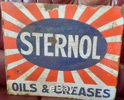 Vintage 1920s Enamel STERNOL MOTOR SIGN 2ft X 18 in approx DOUBLE SIDED