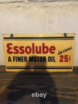 Vintage 1936 Original Essolube Motor Oil Double Sided Dealer Sign Hard To Find