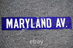 Vintage 1940's Double Sided Porcelain Street Sign Maryland Av Ave Avenue