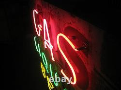 Vintage 1940's GAS, LIQUOR, BEER Antique Neon Sign double sided / One Neon