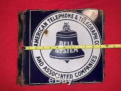 Vintage 1940s Bell System Enamel Porcelain Sign Double sided, Flange
