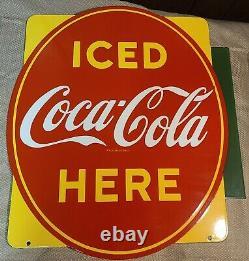 Vintage 1951 Porcelain P&M Co Coca Cola Double Sided Flange Sign