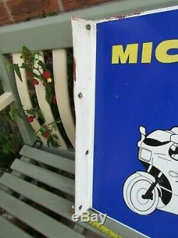 Vintage 1970s Michelin Bibendum Motorcycle Metal Double Sided Sign 19 x 18