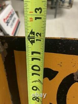 Vintage 5 Cents Per Gallon Coal Oil Double Sided Metal Flange Sign GAS OIL SODA