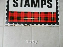 Vintage! 950's 60's Large Original Plaid Stamp Heavy Metal Sign Double Sided