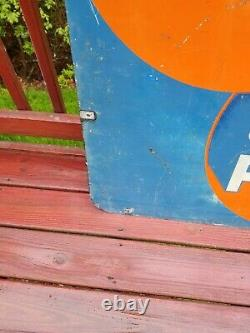 Vintage AC Spark Plug Fuel Pump Sign gas station oil can double sided auto steel
