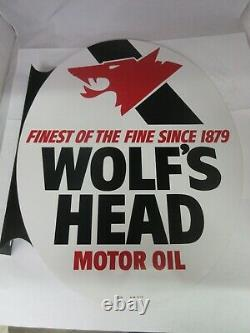Vintage Advertising Wolf's Head Oil Double Sided Flanged Nos Mint Sign A-57