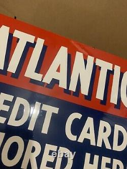 Vintage Atlantic Gas Credit Card Sign Double Sided NOS Garage Wall Decor Oil