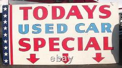 Vintage Auto Dealer Sign Todays Used Car Special Chevrolet GM 1950s double sided
