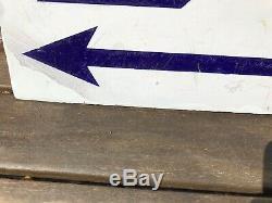 Vintage BP Enamel Advertising Garage Sign Deco Double Sided 1920s Rare