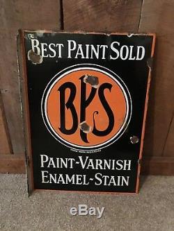 Vintage Best Paint Sold BPS Varnish Stain Porcelain Flange Double Sided Sign