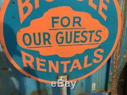 Vintage Bicycles Rentals For Our Guests Sign Curb Lollipop Double Sided Beach