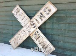 Vintage Cast Iron RR Railroad Crossing Sign Embossed Antique double sided 48