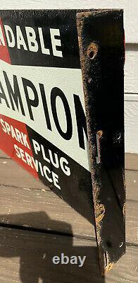 Vintage Champion Spark Plug Service Flange Sign Double Sided, 1940 1950s