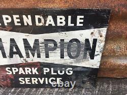 Vintage Champion Spark Plug Sign Original Double Sided Flange Cut 12x17 Antique