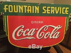 Vintage Coca Cola Fountain Service Double Sided Porcelain Sign
