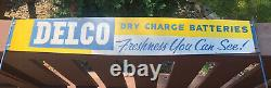 Vintage Delco Dry Charge Batteries Metal Sign Rack Topper Double Sided Original