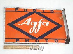 Vintage Double Sided Agfa Photo Advertising Camera Enamel Porcelain Sign Board