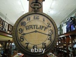 Vintage Double Sided Cast Iron Pocket Watch Advertising Sign