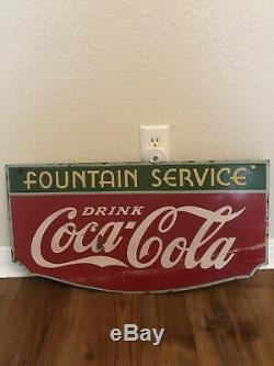 Vintage Double Sided Coca Cola Porcelain Sign