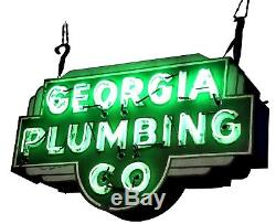 Vintage Double-Sided Georgia Plumbing Co. Green Neon Sign