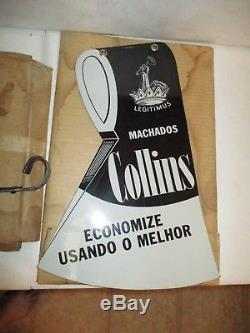 Vintage Double Sided Porcelain Collins Axe Sign
