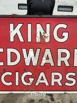 Vintage Double Sided Porcelain King Edward Cigars Sign 70 x 46 Garage Pub Bar