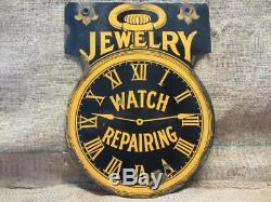 Vintage Double Sided Porcelain Watch Repair Jewery Sign Antique RARE Heavy 9875