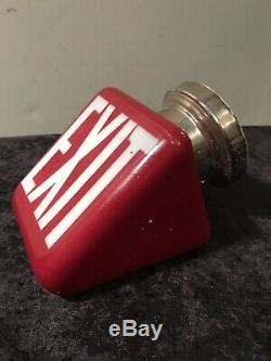 Vintage Double Sided Red Glass Exit Sign Light Art Deco Movie Theatre Fixture