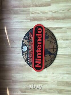 Vintage Double Sided World of NINTENDO Plastic Enamel Double Sign! Globe