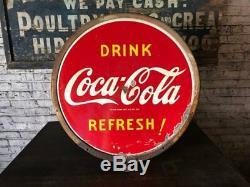 Vintage Drink1941 Coca Cola Lollipop Double-Sided Porcelain Coke Advertisin Sign