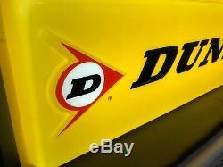 Vintage Dunlop Tires Double Sided Lighted Embossed Dealer Sign