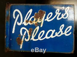 Vintage Enamel Player's Please Tobacco Sign Double Sided