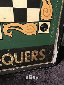 Vintage English Irish Pub Tavern Sign Double Sided Painted Wood The Chequers