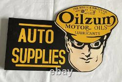 Vintage Flanged Oilzum Double Sided 30 Porcelain Sign Car Gas Oil Truck Motor