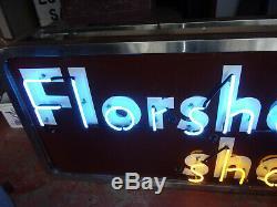 Vintage Florsheim Shoes Porcelain Neon Shoe Store Sign Double Sided