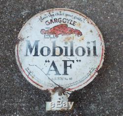 Vintage Gargoyle Mobiloil AF Double Sided Porcelain Vacuum Oil Lubester Sign